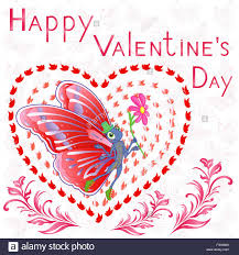 happy valentine u0027s day butterfly with flower on the background of