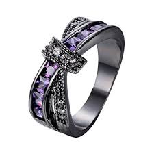 black and purple engagement rings bamos jewelry womens purple zc promise gift