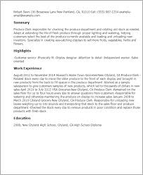 Example Of A Resume For A Teenager by Professional Produce Clerk Templates To Showcase Your Talent