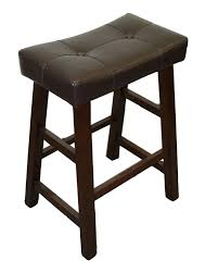 dark brown leather tufted seat bar stool with footstep and brown