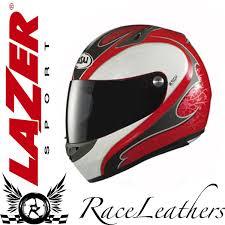 lazer motocross helmets lazer kestrel ivy gloss red grey white fullface motorcycle