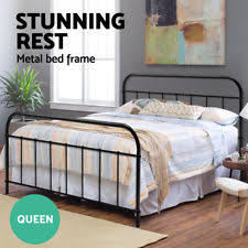 double metal bed frame size bentwood timber slat support bedroom