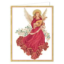 caspari cards caspari angel with lute boxed christmas cards paperstyle