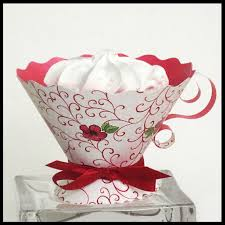 teacup party favors red swirls tea party high tea bridal