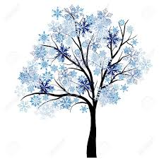 beautiful winter tree with snowflakes leaves illustration
