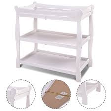 White Baby Changing Table Costway White Sleigh Style Baby Changing Table Infant Newborn