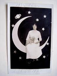 music to write a paper to tracy s toys and some other stuff it s only a paper moon postcard for some reason the sender felt it was important to write this woman s weight across the top of the card 158 1 2 pounds at least i m assuming that s her