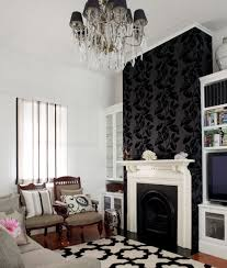 Fireplace Wall Ideas by Living Room Fireplace Background Feature Wall Using Wallpaper
