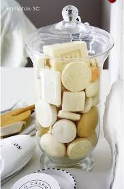 save hotel soap in a large apothecary jar for guests hotel soap