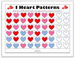 pattern math worksheets preschool valentine printables for preschool beautiful valentine day math