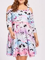 plus size cutout shoulder vintage halloween party dress pink xl