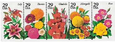 1995 32c fall garden flowers 5 stamps for sale at mystic stamp