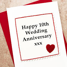 10th wedding anniversary handmade 10th wedding anniversary card by arnott cards