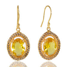 dangle earring earrings new arrival yellow with cz dangle earrings for