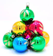bright colored ornaments with reflections stock