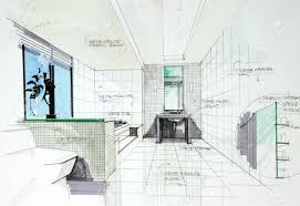 Room Design Free Interior Sketch By Pencil And Pen Color Free Hand Sketch Of Bath