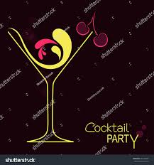cocktail glass abstract splashes cherry design stock vector