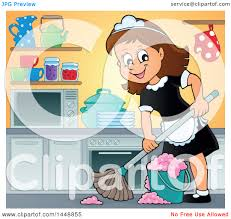 clipart of a cartoon happy brunette maid mopping a kitchen