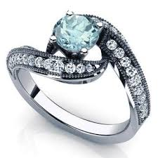 birthstone engagement rings aquamarine engagement ring 14k white gold with diamonds march