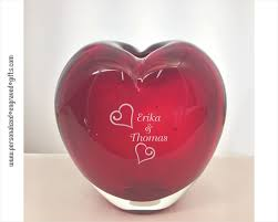 Heart Shaped Glass Vase Personalized Engraved Red Heart Shaped Art Glass Vase