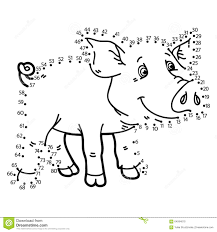 dot to dot pig game stock vector image 64594010