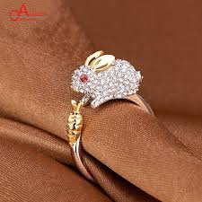 acrylic rabbit ring holder images Aladdin silver plating ring open animal zircon golden jewelry jpg