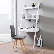 Corner Style Computer Desk Retro Ladder Style Computer Desk In White With Storage