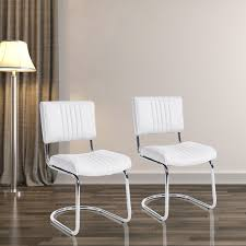 Dining Chairs White Leather Homcom 2 Pcs Stainless Steel U0026 Pu Leather Dining Chairs White