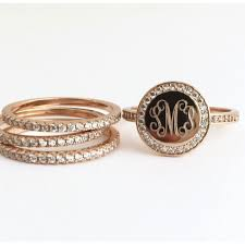gold monogram rings gold monogram stacking rings with cubic zirconia the