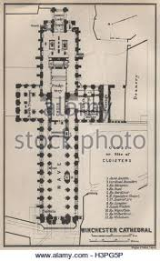Cathedral Floor Plan Winchester Cathedral Floor Plan Hampshire 1939 Vintage Map Stock