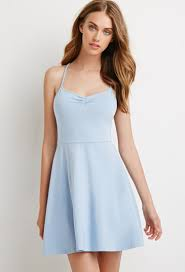 fit and flare dress forever 21 forever 21 fit flare crisscross cami dress in blue lyst