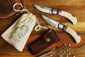 Personalized Groomsmen Knives Groomsmen Bone Handle Knife With Flat Leather Sheath