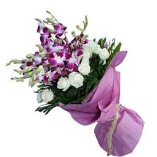 arrangement of lavender orchids with white roses myflowergift