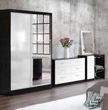 Bedroom Furniture - White high gloss bedroom furniture set