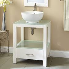 bathroom vessel sink ideas minimalist bathroom with white vessel sink vanity on grey flooring