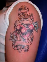 heart dagger tattoo by blue tattoo