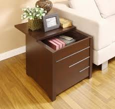 end tables living room with hidden storage with brown paint
