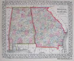 Map Of Alabama Counties Antique Maps And Charts U2013 Original Vintage Rare Historical