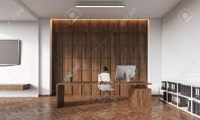 Schreibtisch Ecke Zimmer Mit Weißen Und Holzwand Fernseher Tisch Schreibtisch Und