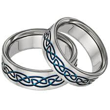 titanium celtic wedding bands blue titanium celtic wedding band set