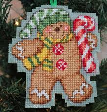 cross stitch ornament gingerbread with