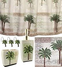 Bathroom Sets With Shower Curtain And Rugs And Accessories Amazon Com Palm Tree 5 Piece Bath Set Tropical Decor Shower