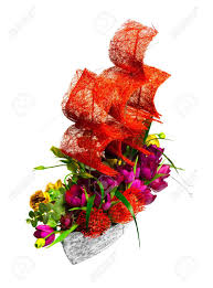 ship flowers decoration with flowers in the form of a ship with crimson sails