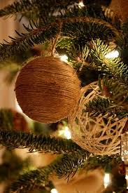 diy tree decorations either using twine wrapped and glued around