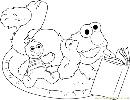 elmo reading book coloring free sesame street coloring