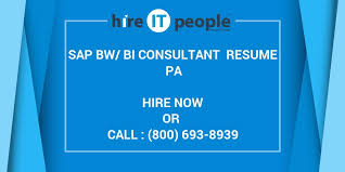 Sap Bi Resume Sample For Fresher by Sap Bw Bi Consultant Resume Pa Hire It People We Get It Done