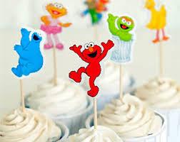 sesame cake toppers oscar cupcake topper etsy