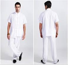 white tradition chinese style men u0027s linen kung fu sets shirt pants