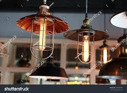 close vintage pendant lamp rustic lights stock photo 502659490