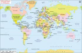 world map image with country names and capitals wereld kaart world map in afrikaans